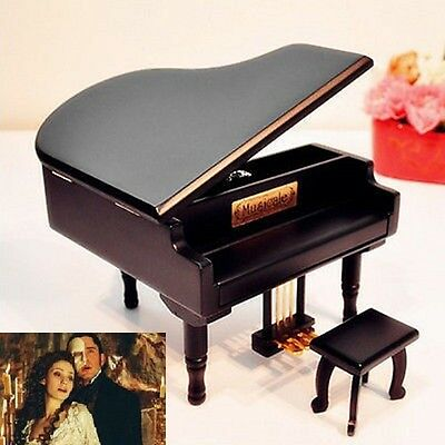 BLACK WOOD PIANO WIND UP MUSIC BOX  ♫  All I Ask of You ♫