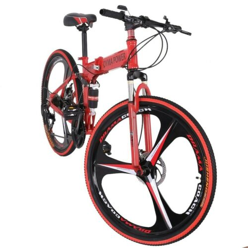 """Details about  /26/"""" Folding Mountain Bike Shimano 21 Speed Bicycle Full suspension MTB School"""