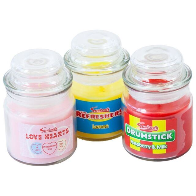 Swizzels Classic Sweet Candle Jars Pack of 3 Drumstick Love Hearts & Refreshers