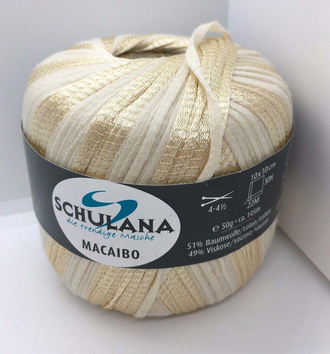 Schulana Macaibo Ribbon Yarn #45 Green Silver Gold White DK 50 gr 158 yards