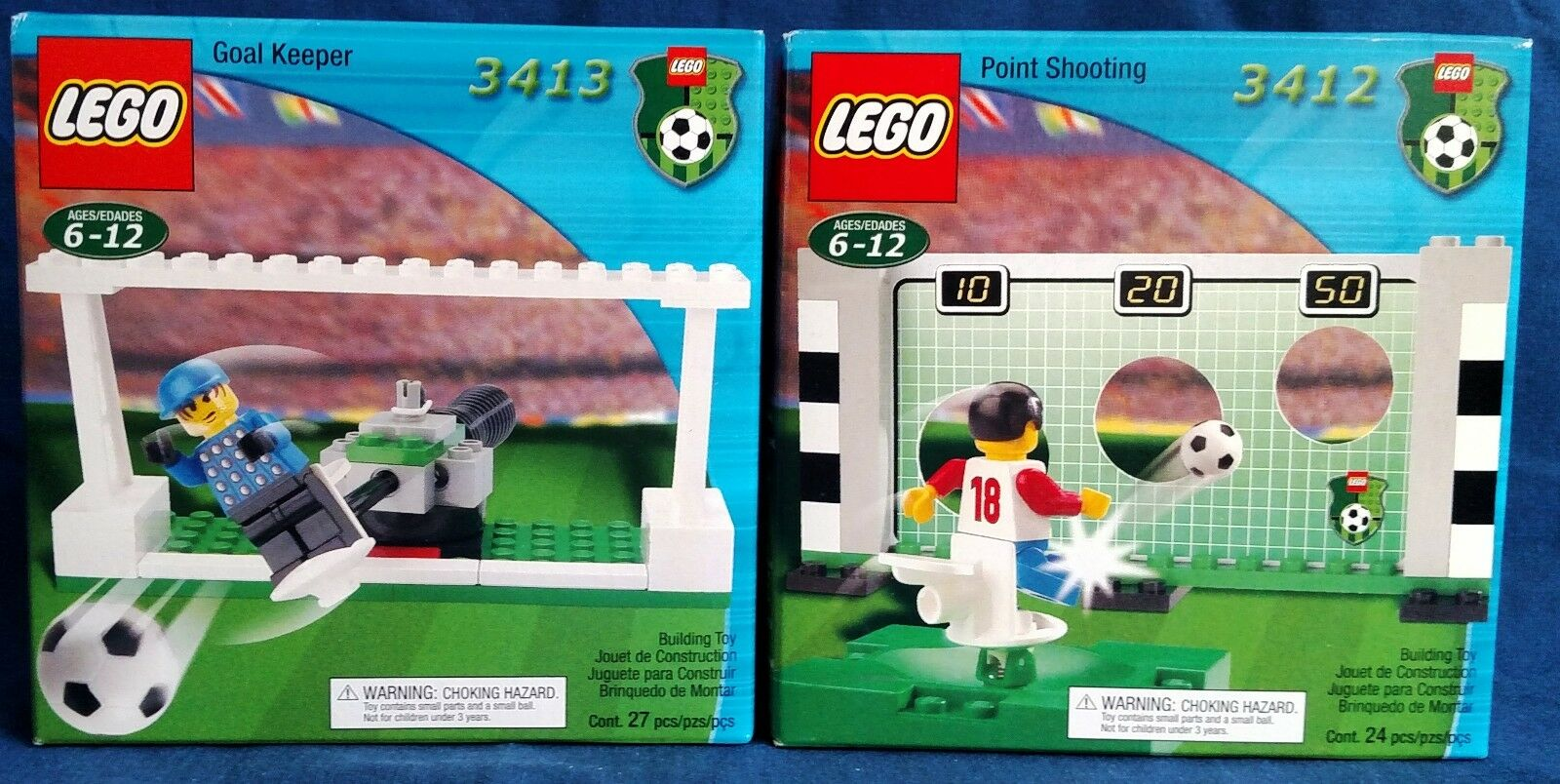 LEGO 3413 & 3412 Soccer Point Shooting & Goal Keeper  new in box