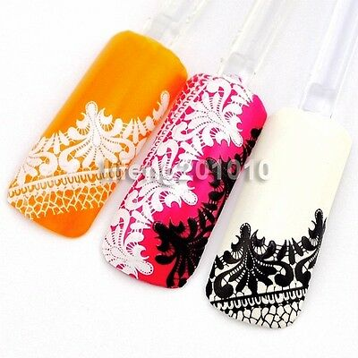 New 2015 3D Black Lace Design Nail Art Sticker Decals Decorations Beauty Tool 09