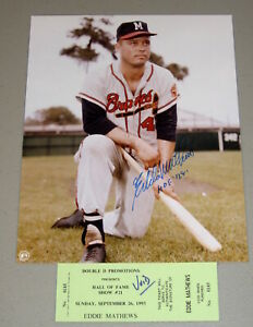 EDDIE-MATHEWS-SIGNED-8-X-10-COLOR-PHOTO-WITH-HOF-78-INSCRIPTION-amp-SIGNING-TICKET