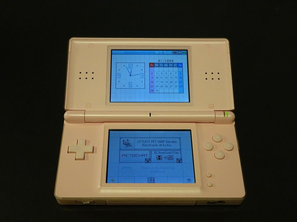 Nintendo DS Lite, Lyserød/Pink med 7 spil, God