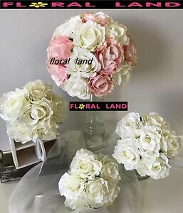 Silk Wedding Bouquet Pale Pink White Rose Roses Posy Light Pink