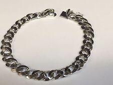 """14kt solid WHITE gold handmade Curb Link mens bracelet 8"""" 25 Grams 8.5 MM"""