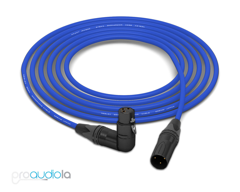 Mogami 2534 Quad Cable   Neutrik Gold 90º XLR-F to XLR-M   Blau 25 Feet 25'