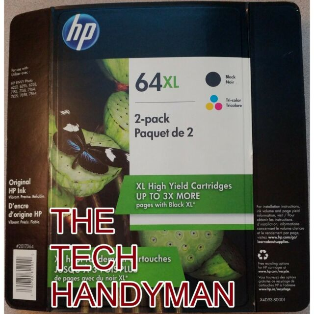 2-PACK HP GENUINE 64XL Black /& Tri-Color Ink WAREHOUSE PACK ENVY 7155 7158