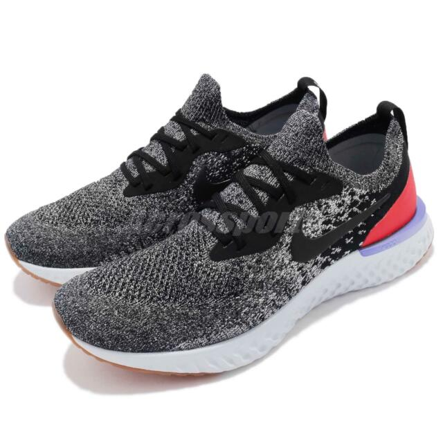 4a8f45371db5 Nike Epic React Flyknit Black White Orbit Grey Men Running Sneakers  AQ0067-006