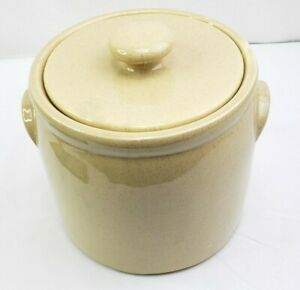 McCoy-USA-Cookie-Jar-Sugar-Flour-Canister-With-Lid-1420-L-Tan