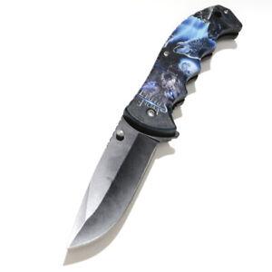"8 3/8"" Assisted Spring Opening Folding Pocket Knife Handle Belt Clip Wolf OS"