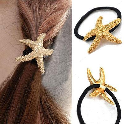 Fashion Starfish metal Hair Ring Gold Hair Chain Ponytail Holder Gift