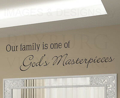 Wall Decal Art Sticker Quote Vinyl Family One of God's Greatest Masterpieces F67