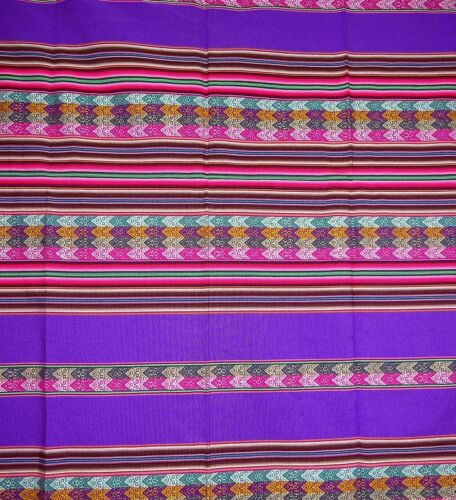 Decke Tischdecke Überwurf Wandbehang  gestreift indianisch Muster Tisch NEU lila