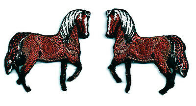 Horse - Western - Brown W/White Mane - Set Of 2 - Embroidered Iron On Patches