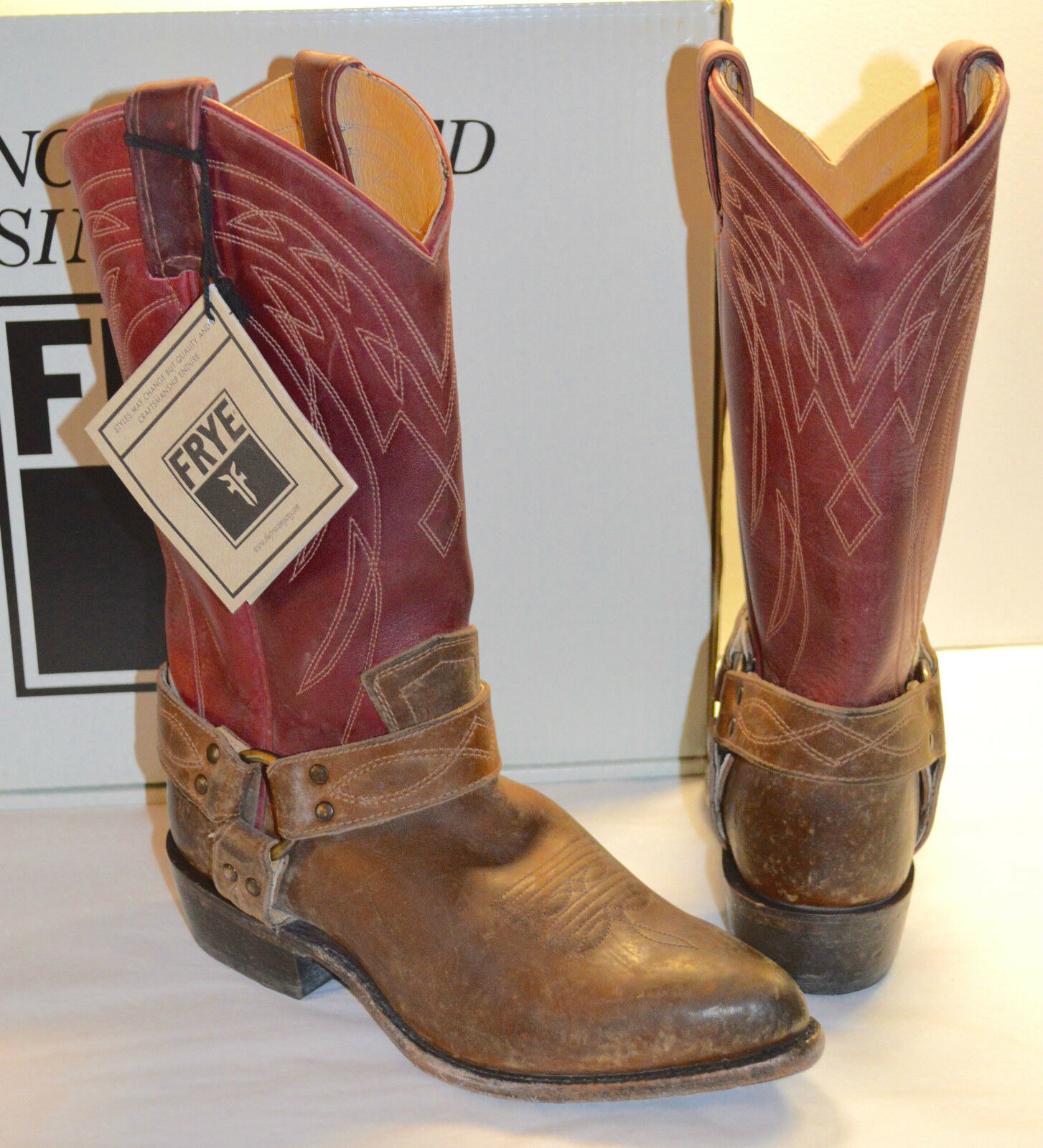 Nuevo  348 Frye Billy Arnés De Cuero Marrón Borgoña Borgoña Borgoña Multi botas de vaquero con aspecto envejecido  Venta al por mayor barato y de alta calidad.