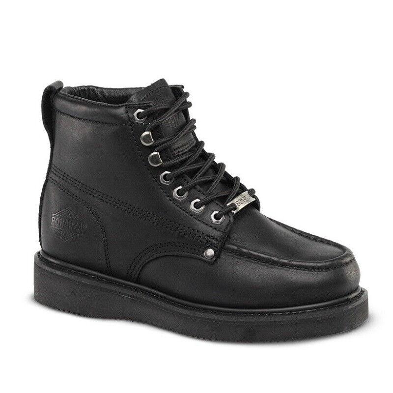 Para hombres Cuero Negro 6  Mocc Toe WP botas De Trabajo Puntera De Acero BAT-630 (D, M)