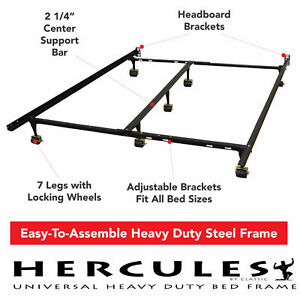 Metal-Bed-Frame-Adjustable-Rails-Twin-Full-Queen-King-Size-Box-Spring-Mattress