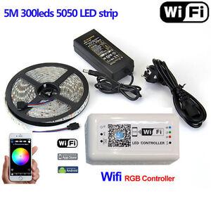 5m 5050 Smd Rgb Led Strip Light Tape Lamp 12v Amp Wifi