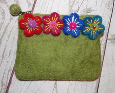 Purse From Nepal Fair Trade Hippy Boho Multi-Coloured Felt Flower Wallet