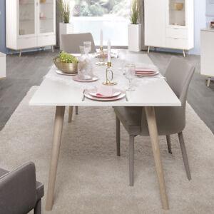 Details zu Esstisch Göteborg Tisch Küchentisch weiß und Sonoma Eiche  Skandinavisches Design