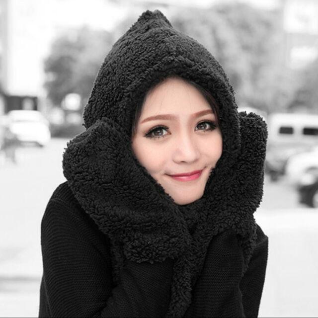 Women's Fashion Winter 3 in 1 Woolen Cap With Scarf Gloves Hat Accessories Set