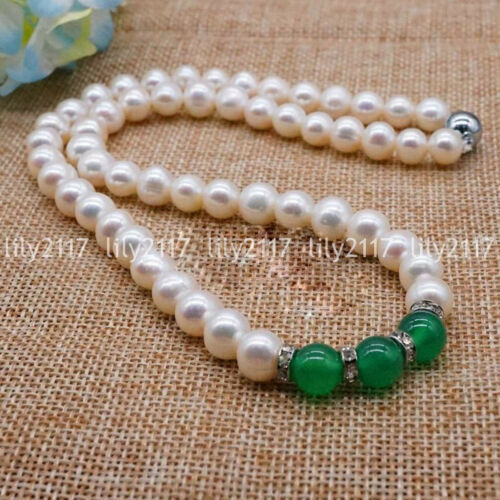 "Naturel 7-8 mm blanc Akoya Cultured Pearl Green Jade Pierres Précieuses Perles Collier 18/"" AAA"