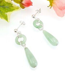 Plata-esterlina-pendientes-de-lagrima-circulo-Verde-Jade