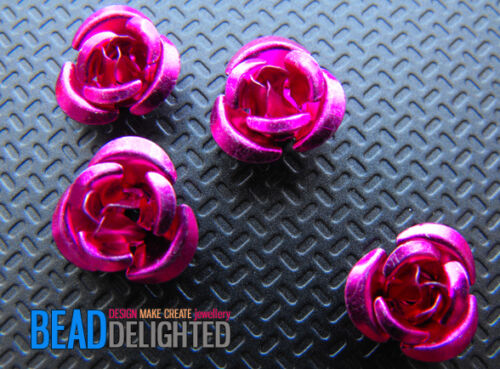 Aluminium Metal Rose Flower Beads 100//6mm or 50//12mm CHOOSE COLOUR /& SIZE