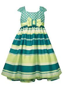3ecc52567a1 Bonnie Jean Girls Easter Spring Aqua Striped Shantung A-Line Dress 4 ...