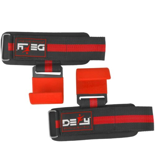DEFY New Weight Lifting Power Training Dip Hook bar Straps Wrist Support Red