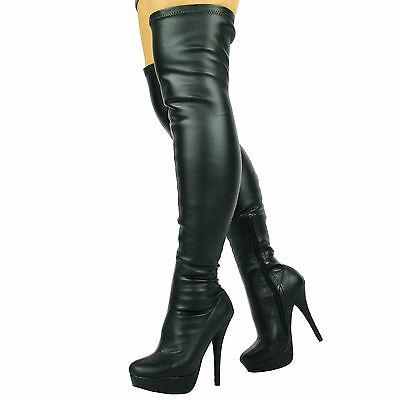 Sexy Fetish Black Over The Knee Thigh High Heel Stiletto Platform Stretchy Boots