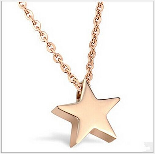Gorgeous Fashion Womens 9K Rose Gold Filled Star Shape Necklace with Pendant K37