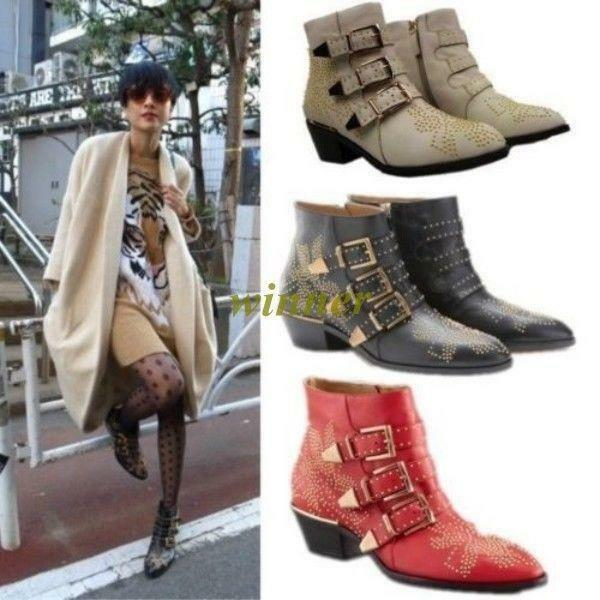 Womens Punk Studded Buckle Low Heel Rocker Cowboy Ankle Boots shoes Rivets@New