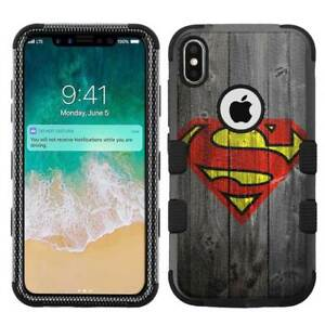 for-Apple-iPhone-X-Ten-Armor-Impact-Hybrid-Cover-Case-Superman-W