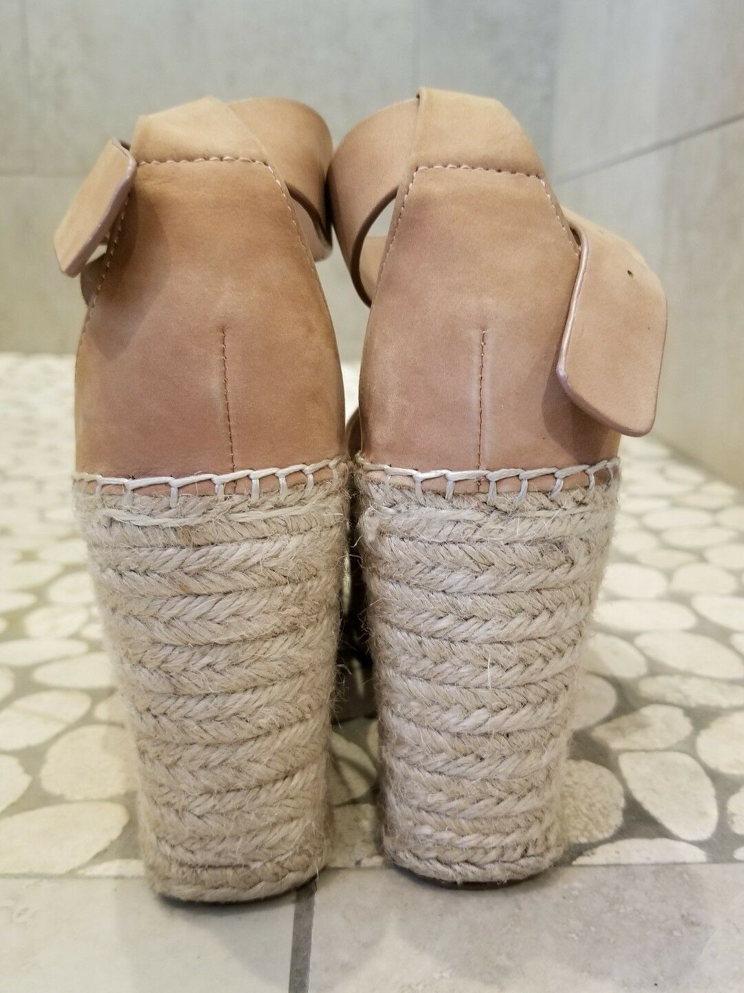 MARC FISHER ANNIE PERFORATED PERFORATED PERFORATED ESPADRILLE WEDGE SANDALS IN blueSH SUEDE SIZE 8 e731d8