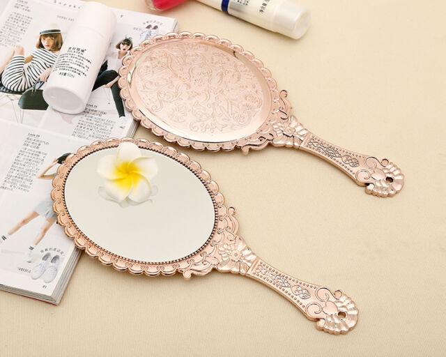Vintage Rose Gold Totem Oval Vanity Bathroom Makeup Dresser Hand Mirror *s51rg