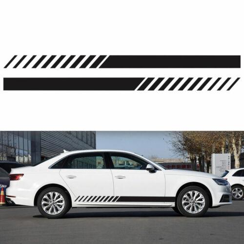 2pcs 220cm Auto Rennstreifen Seitenaufkleber Streifen Dekor Aufkleber Schwarz #