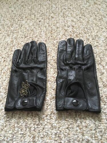 Men/'s Driving Black Leather Gloves Medium