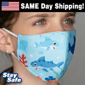 Child BABY SHARK Face Mask – INCLUDES 2 FILTERS! – 90 Washable Custom Designs