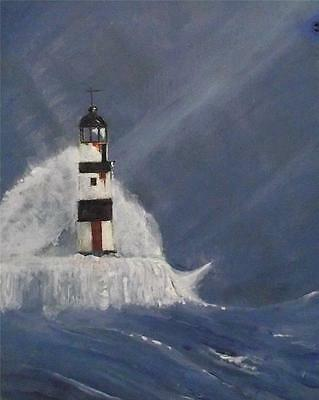 Northern Art Original Painting SEAHAM LIGHTHOUSE BY SW WARD M.A. FINE ART