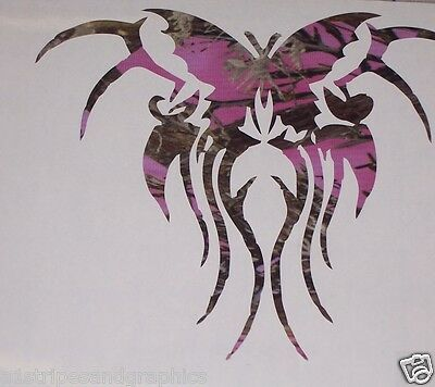Real Tree PINK CAMO Tribal Butterfly Car Truck Window Decal Decals Sticker