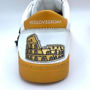 New-in-Box-670-DOLCE-amp-Homme-GABBANA-Roma-en-Cuir-Blanc-Baskets-EU-40-US-7