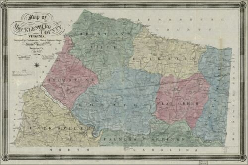Many Sizes; Map Of Mecklenburg County Poster Virginia 1870