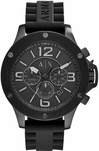 NEW-ARMANI-EXCHANGE-BLACK-TONE-SILICONE-BAND-CHRONOGRAPH-WATCH-AX1523
