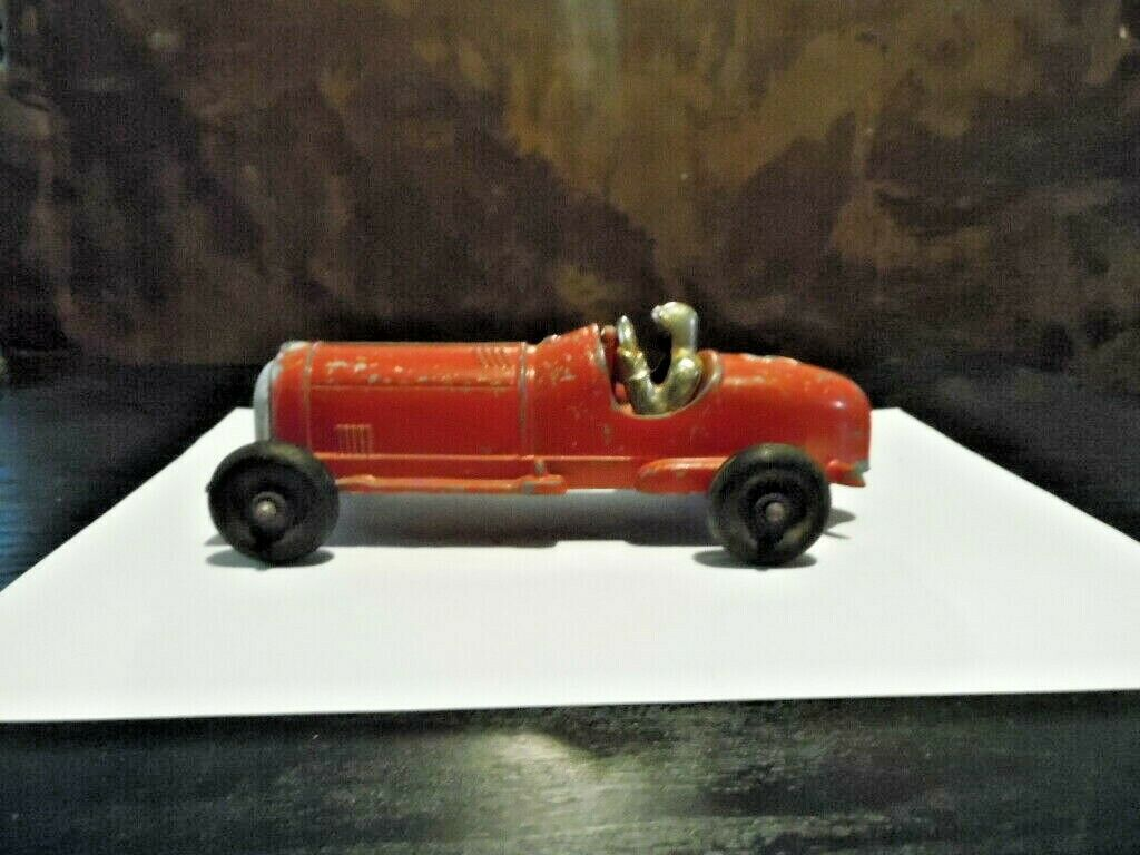 Vintage Hubley Kiddie Toy Race Car - Red-All Working - Nice Condition