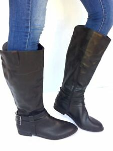 41267da303e9 Women s Fashion Flat Low Heel Mid-Calf Knee High Slouch Riding Boots ...