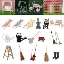 1:12 Scale Fairy Garden Wooden Metal Furniture Dollhouse Miniature Accessories