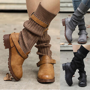 7f46f6ebbe8 Details about Women s Flat Ankle Boots Buckle Booties Casual Extra Wide  Stretch Fashion Shoes
