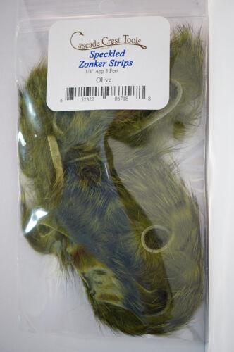 Speckled Zonker Strips 3 x 30 cm x 3mm Schmutziger Hase OLIVE